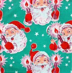 Vintage Gift Wrap. Retro Santa. Vintage Christmas Wrap.