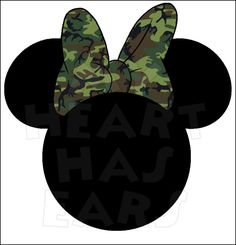 Camo Camouflage Minnie Mouse head INSTANT DOWNLOAD digital clip art DIY iron on transfer My Heart Has Ears