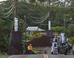 Construction crews prepare Pahoa Village Road as lava flow from Mt Kilauea approaches. The cinder surrounds and installation on the electrical poles are intended to to keep the poles from being burned by the lava.
