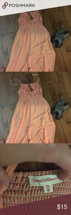 Long skirt/pant outfit. Dani collection.  Size m Peach maxi/pant outfit.  Sooooo cute on.  Bought a year ago. I'm just not comfortable with the spaghetti straps Dani collection Dresses Maxi