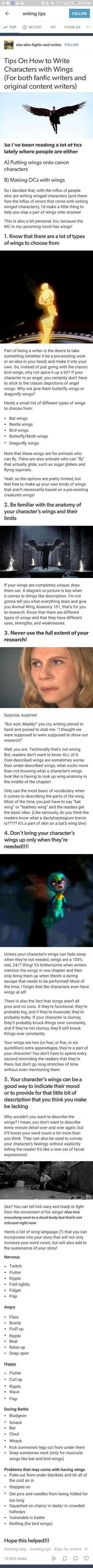 Writing about wings