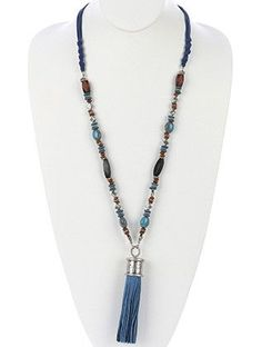 KNOTTED MULTI STRAND FAUX SUEDE TASSEL NECKLACE