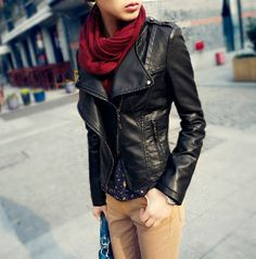 Women's Moto Jacket Faux Leather with scarf