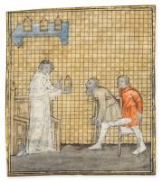 A Physician with Two Amputees from an early copy of Bartholomaeus Anglicanus