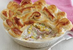 Bacon, leek and sweetcorn puff pie Aldi Recipes, Quick Recipes, Cooking Recipes, Savoury Recipes, Simple Recipes, Recipies, Budget Family Meals, Healthy Family Meals, British Dishes