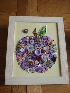 Handcrafted Canvas Wall Art using Buttons, Beads & Gems