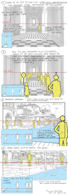 Perspective Tips by Thomas Romain Please do not remove the artists credits Drawing Skills, Drawing Techniques, Drawing Tips, Drawing Tutorials, Drawing Reference, Art Tutorials, Drawing Ideas, Storyboard, Illustration Fantasy
