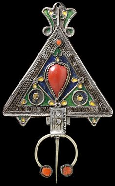 Algeria | Fibula ~ A Kabyle woman's silver shoulder brooch, engraved and decorated with enamel and silver.  | ca. 1800 - 1850.