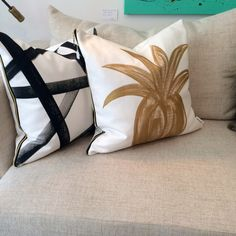 "A fun throw pillow with a gold foil pineapple print perfect for the sofa or bed. - Dimensions: 20""H x 20""W - Materials: Cotton; Foil - Finish: White; Gold - Includes down filled insert This item is a"