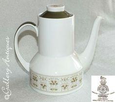 Items similar to Vintage Royal Doulton Samarra Pattern Porcelain Coffee Pot TC 1039 on Etsy Royal Doulton, Earthenware, Stoneware, Cut Glass, Glass Art, Vintage Tableware, Vintage Coffee, Green Flowers, Vintage Silver
