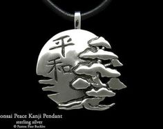 Bonsai with Sun & Peace in Japanese Kanji Pendant Necklace Sterling Silver