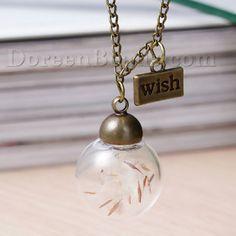 "New Fashion Real Dandelion Clear Transparent Glass Globe Bubble Bottle Necklace Link Curb Chain Antique Bronze Message "" Wish "" Carved 83.5cm(32 7/8"") long, 1 Piece"