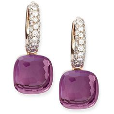 Pomellato Nudo Amethyst Diamond Drop Earrings ($5,950) ❤ liked on Polyvore featuring jewelry, earrings, accessories, joias, серьги, pave drop earrings, 18 karat gold earrings, diamond earrings, pomellato earrings and diamond earring jewelry