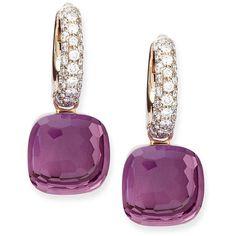 Pomellato Nudo Amethyst Diamond Drop Earrings (€5.690) ❤ liked on Polyvore featuring jewelry, earrings, accessories, joias, серьги, amethyst earrings, pomellato earrings, pave jewelry, diamond jewellery and earring jewelry