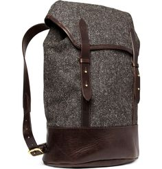 Tweed and Leather Backpack
