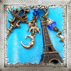 "Eiffel TOwer ""The Cow Jumped Over The Paris Moon"" French Key Chain Fairytale Pendant Handcrafted"