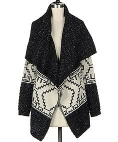 Love this Black & White Tribal Open Cardigan by Fashionomics on #zulily! #zulilyfinds