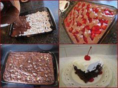 Easy as Pie filling cake: If you need to make a great dessert in a pinch! Ingredients: 4 cups mini-marshmallows 1 chocolate cake mix, 1 can cherry pie filling, 1 large container of Cool Whip - Pour four cups of mini-marshmallows into a greased 9x13 inch cake pan. Prepare chocolate cake mix according to directions. Pour over marshmallows. Spoon cherry pie filling. Bake at 350F for 50 min or until toothpick inserted comes out clean. Top with Cool Whip. Serves 15.