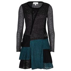 Black & Teal Edwardian Patchwork Tunic Dress in TUNICS from Apricot