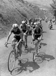 TdF 1952  René Rotta and Jean Robic followed by Fausto Coppi during the ascent of the alpencol du Tende,