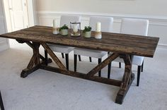 This listing is for a custom rustic, solid wood (pine) farm table that will become the focal point of your kitchen or dining space. *Choose size, top finish and bottom finish. Top of table may be painted or stained and then finished with a rustic, weathered look. Table pedestal (legs) may be stained or pained to match top or mix and match. **Choose from the following colors of the highest quality chalk paint: Pure White Old White Paris Grey Louis Blue Duck Egg Blue Chateau Grey (olive…