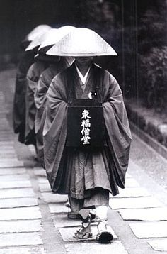 Tofukuji Temple, Kyoto, 1992. Monks going for alms.