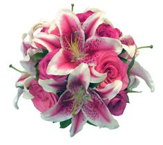 Just Roses Plus- Stargazer lily and pink rose bridal bouquet
