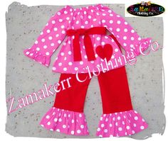 Custom Boutique Clothes - Girl Valentines Day Outfit  - Peasant Top Ruffle Pant Set 3 6 9 12 18 24 month size 2T 2 3T 3 4T 4 5T 5 6 7 8
