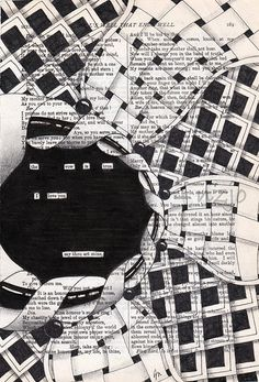 found poetry woah! Doodles Zentangles, Zentangle Patterns, Erasure Poetry, Found Poetry, Blackout Poetry, Book Page Art, Altered Book Art, Poetry Art, Tangle Art