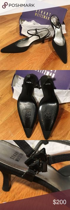 STUART WEITZMAN Black point toe heel. Classic black point sling back heel. Worn a couple times but in like new condition has a jeweled triangle on the outside strap on each shoe. The heels are black fabric. And the heel is 2.5 inches. Size 9.5. Comes with box (box is a little beat up) Open to offers! Shoes Heels