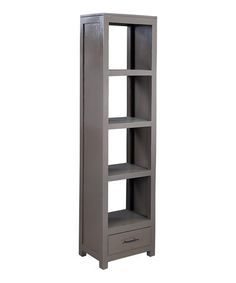 Showcasing a wood frame and smoke gray finish, this lovely bookcase is perfect for stowing leather-bound reads and vintage trinkets. Grey Furniture, Find Furniture, Rustic Furniture, Furniture Storage, Storage Shelves, Tall Cabinet Storage, Locker Storage, Mahogany Bookcase, Indoor Outdoor Furniture