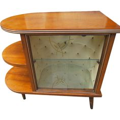 Art Deco 1920's Walnut Drinks Bar Cocktail Liquor Cabinet with Lamp Stand..