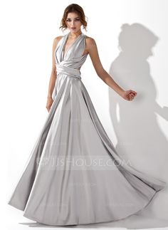 A-Line/Princess V-neck Floor-Length Charmeuse Evening Dress With Ruffle (017020657) - JJsHouse