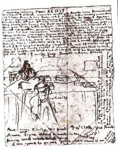 Journal d'Emily Brontë, 26 juin 1837, la montrant au travail avec Anne à la table de la salle à manger.