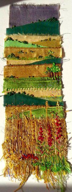 Deborah Collum = beautiful!!! Sculpture Textile, Textile Fiber Art, Textile Artists, Fabric Art, Fabric Crafts, Landscape Art Quilts, Landscapes, Creative Textiles, Fabric Pictures