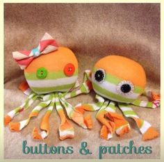 Cute diy craft! Just cut up an old pair of socks and decorate with buttons and bows! Maybe a cute idea for babysitting? Sock octopus