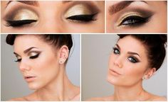 White, Black and Gold Wedding Make up. gold and black make up for the bride