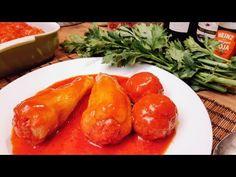 Töltött paprika Paradicsomos húsgombóc / Szoky konyhája / - YouTube Fresh Rolls, Carrots, Stuffed Peppers, Meat, Chicken, Vegetables, Ethnic Recipes, Food, Youtube