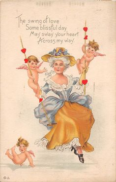 A52/ Valentine's Day Love Holiday Postcard 1912 Canton Ohio Woman Swing Cupids14