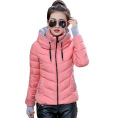 4FSGLOBAL hooded women winter jacket short cotton padded womens coat autumn casaco feminino inverno solid color parka stand collar