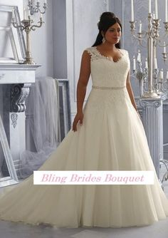 Bling Brides Fancy Sexy See Through Beading Lace Organza White Ivory A-Line Plus Size Wedding Dress