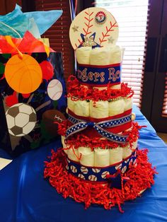 Texas Rangers Diaper Cake