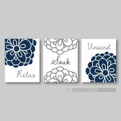 Fl Relax Soak Unwind Print Trio Bathroom Home Decor Wall Art Flower Navy Blue And Dark Gray Grey