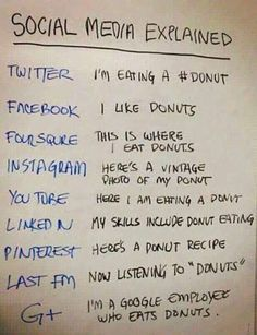 Funny pictures about Social Media Explained With A Donut. Oh, and cool pics about Social Media Explained With A Donut. Also, Social Media Explained With A Donut photos. Funny Bio Quotes, Funny Humor, Internet Marketing, Social Media Marketing, Digital Marketing, Marketing Ideas, Content Marketing, Affiliate Marketing, Cool Instagram