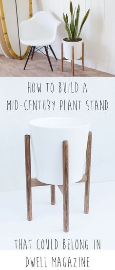This would cost so much at the store, but it's so easy to make! DIY your very own mid-century plant stand.