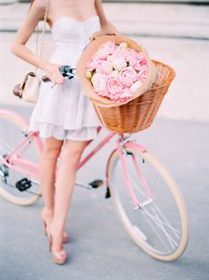 """gyclli: """" Pink bicycle and peony bouquet / Photography: Le Secret D'Audrey stylemepretty.com """""""