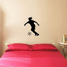 Soccer Player Girl and Ball Vinyl Wall Decal Sticker Graphic. Application instructions are included. Some decals may come in multiple pieces due to the size of the design. Our vinyl graphics are easy to apply to any smooth surface. Put them on walls, wood, glass, tile, windows, canvas, ceramics, the possibilities are endless! These work on many different wall surfaces including textured walls. Your graphic will last indefinitely if you wish, or you can simply remove it when you are ready…