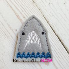 Shark Face Feltie Embroidery Design File by EmbroiderThatNow