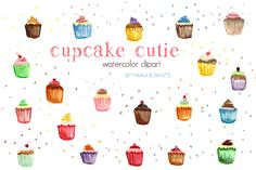 Watercolor Clip Art - Cupcakes by Maria B. Paints on Creative Market