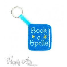 Spellbook in the hoop keychain embroidery design - Cute wizard embroidery design!